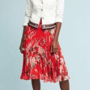 NWOT Anthropologie Kita Pleated Floral Skirt XS